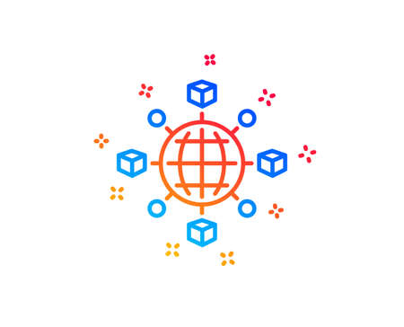 Logistics network line icon. Parcel tracking sign. Goods distribution symbol. Gradient design elements. Linear logistics network icon. Random shapes. Vector