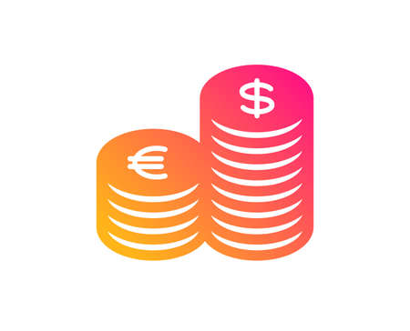 Coins money icon. Banking currency sign. Euro and Dollar Cash symbols. Classic flat style. Gradient currency icon. Vector