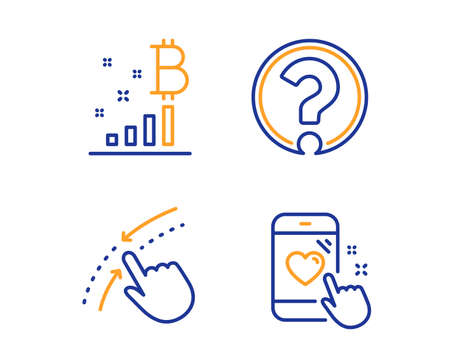 Bitcoin graph, Swipe up and Question mark icons simple set. Heart rating sign. Cryptocurrency analytics, Touch down, Ask support. Phone feedback. Technology set. Linear bitcoin graph icon. Vector Vettoriali