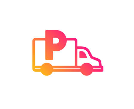 Truck parking icon. Car park sign. Transport place symbol. Classic flat style. Gradient truck parking icon. Vector