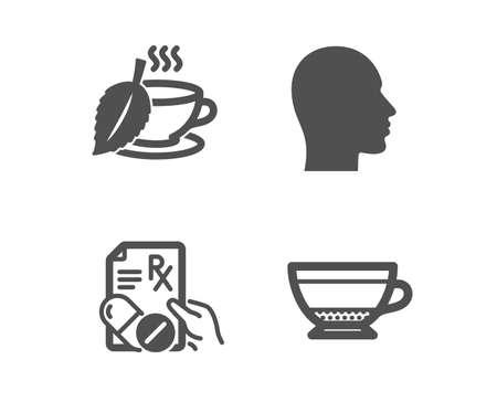 Set of Head, Mint tea and Prescription drugs icons. Dry cappuccino sign. Human profile, Mentha beverage, Pills. Beverage mug.  Classic design head icon. Flat design. Vector Illustration