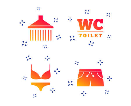 Swimming pool icons. Shower water drops and swimwear symbols. WC Toilet sign. Trunks and women underwear. Random dynamic shapes. Gradient swimming icon. Vector Illustration