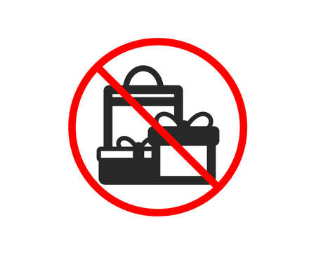 No or Stop. Gift boxes with bag icon. Present or Sale sign. Birthday Shopping symbol. Package in Gift Wrap. Prohibited ban stop symbol. No shopping icon. Vector Stock Vector - 125590462