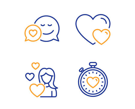 Dating, Love and Hearts icons simple set. Heartbeat timer sign. Love messenger, Romantic relationships. Love set. Linear dating icon. Colorful design set. Vector Banco de Imagens - 125606615