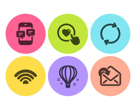 Like button, Phone messages and Wifi icons simple set. Air balloon, Full rotation and Receive mail signs. Press love, Mobile chat. Technology set. Flat like button icon. Circle button. Vector Stock Illustratie