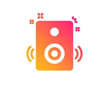 Speakers icon. Music sound sign. Musical device symbol. Classic flat style. Gradient speakers icon. Vector  イラスト・ベクター素材