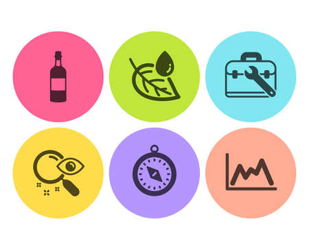 Travel compass, Search and Leaf dew icons simple set. Tool case, Brandy bottle and Diagram signs. Trip destination, Find document. Business set. Flat travel compass icon. Circle button. Vector