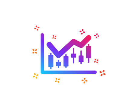 Candlestick chart icon. Financial graph sign. Stock exchange symbol. Business investment. Dynamic shapes. Gradient design financial diagram icon. Classic style. Vector Ilustracja