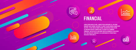 Header banner. Investment, Accounting and Bitcoin graph icons simple set. Trade infochart, Shopping and Currency signs. Economic statistics, Supply and demand. Finance set. Line investment icon