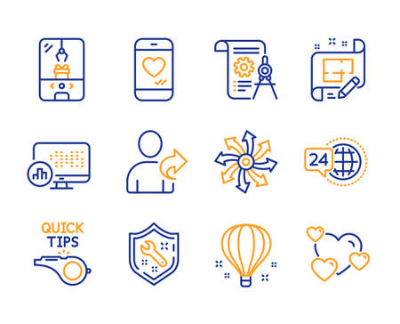 Versatile, Spanner and Crane claw machine icons simple set. Architect plan, Air balloon and Report statistics signs. Divider document, Love chat and Tutorials symbols. Line versatile icon. Vector Illustration
