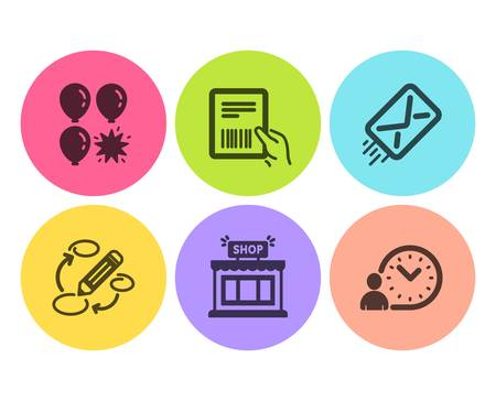 Shop, Parcel invoice and Balloon dart icons simple set. E-mail, Keywords and Time management signs. Store, Delivery document. Business set. Flat shop icon. Circle button. Vector