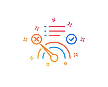 Reject bandwidth meter line icon. No internet sign. Speedometer symbol. Gradient design elements. Linear no internet icon. Random shapes. Vector