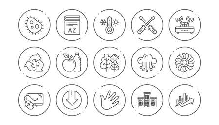 Company building, Fan engine and Profits chart line icons. Jet turbine, Wind energy and Cloud services. Linear icon set. Line buttons with icon. Editable stroke. Vector