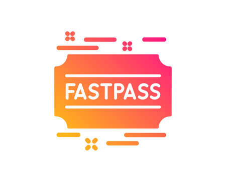 Fastpass icon. Amusement park ticket sign. Fast track symbol. Classic flat style. Gradient fastpass icon. Vector