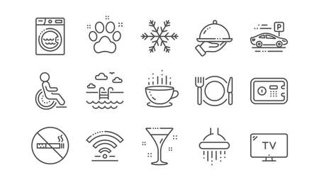 Hotel service line icons. Wi-Fi, Air conditioning and Washing machine. Pets, swimming pool and hotel parking icons. Linear set. Vector Stock Vector - 125955885