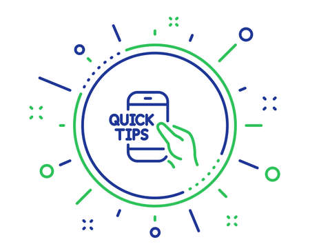 Quick tips on phone line icon. Helpful tricks sign. Internet tutorials symbol. Quality design elements. Technology education button. Editable stroke. Vector