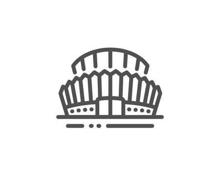 Sports stadium line icon. Arena sign. Sport complex symbol. Quality design element. Linear style sports stadium icon. Editable stroke. Vector Çizim