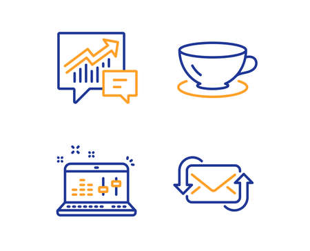 Accounting, Espresso and Sound check icons simple set. Refresh mail sign. Supply and demand, Coffee cup, Dj controller. New e-mail. Business set. Linear accounting icon. Colorful design set. Vector Illusztráció
