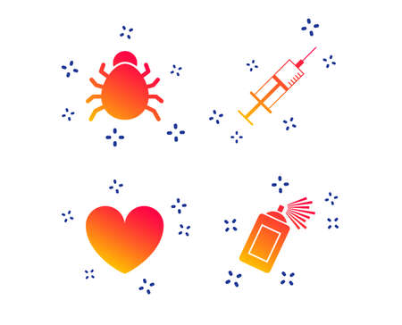 Bug and vaccine syringe injection icons. Heart and spray can sign symbols. Random dynamic shapes. Gradient vaccine icon. Vector Illustration