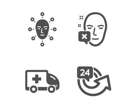 Set of Face declined, Ambulance emergency and Face biometrics icons. 24 hours sign. Identification error, Medical transport, Facial recognition. Repeat.  Classic design face declined icon. Flat design Ilustração