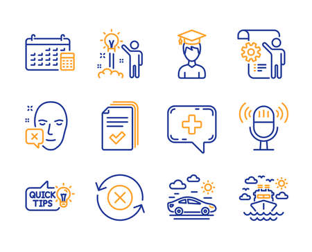 Creative idea, Medical chat and Face declined icons simple set. Reject refresh, Car travel and Microphone signs. Student, Calendar and Settings blueprint symbols. Line creative idea icon. Colorful set Ilustração