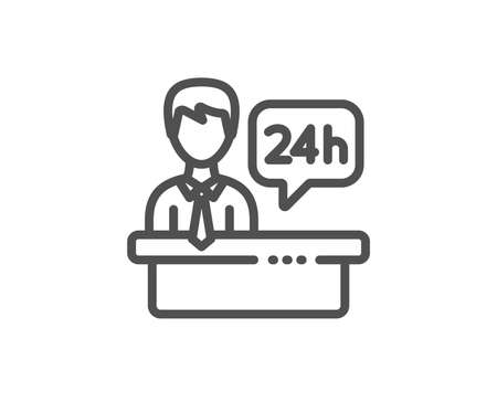 Reception desk line icon. 24 hour help sign. Hotel service symbol. Quality design element. Linear style reception desk icon. Editable stroke. Vector Иллюстрация