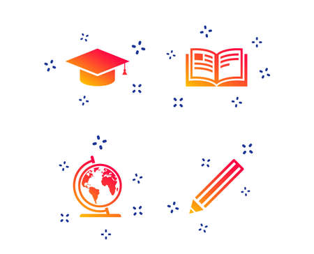 Pencil and open book icons. Graduation cap and geography globe symbols. Education learn signs. Random dynamic shapes. Gradient graduation icon. Vector