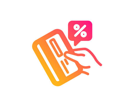 Credit card percent icon. Discount sign. Loan percentage symbol. Classic flat style. Gradient credit card icon. Vector Иллюстрация