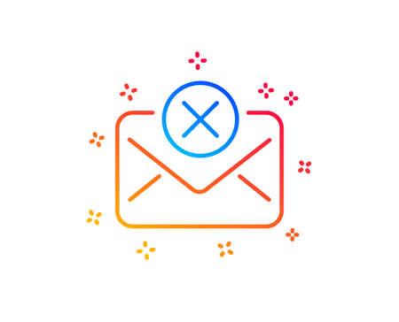 Reject mail line icon. Delete message sign. Decline web letter. Gradient design elements. Linear reject mail icon. Random shapes. Vector