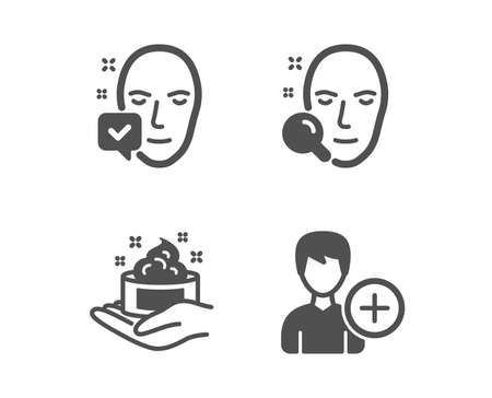 Set of Face search, Skin care and Face accepted icons. Add person sign. Find user, Hand cream, Access granted. Edit user data.  Classic design face search icon. Flat design. Vector Ilustração