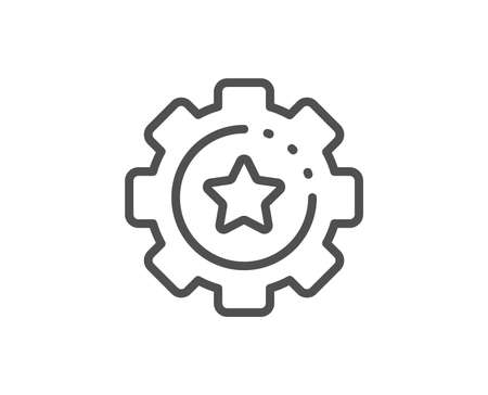 Settings gear line icon. Cogwheel  with star sign. Working process symbol. Quality design element. Linear style settings gear icon. Editable stroke. Vector Иллюстрация