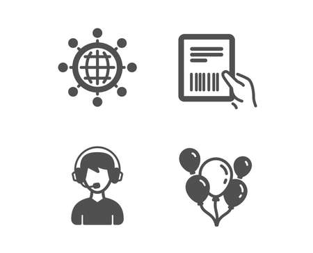 Set of International globe, Consultant and Parcel invoice icons. Balloons sign. World networking, Call center, Delivery document. Air balloons.  Classic design international globe icon. Flat design