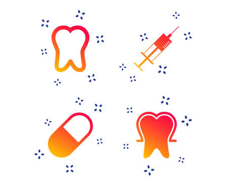 Tooth enamel protection icons. Medical syringe and pill signs. Medicine injection symbol. Random dynamic shapes. Gradient tooth icon. Vector