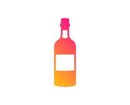 Brandy bottle icon. Whiskey or Scotch alcohol sign. Classic flat style. Gradient brandy bottle icon. Vector