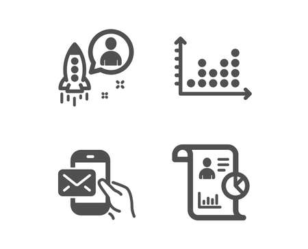 Set of Dot plot, Messenger mail and Startup icons. Report sign. Presentation graph, New e-mail, Developer. Work statistics.  Classic design dot plot icon. Flat design. Vector