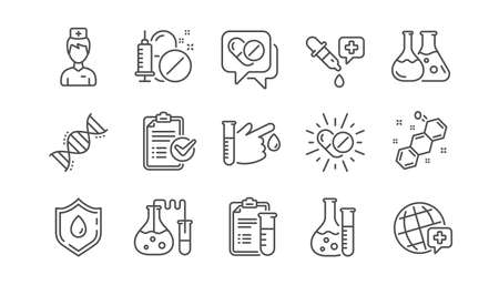 Medizinisches Gesundheitswesen, Symbole für die Arztlinie. Symbole für Drogentests, wissenschaftliche Entdeckung und Krankheitsprävention. Chemische Formel, Chemieprüflabor. Linearer Satz. Vektor Vektorgrafik