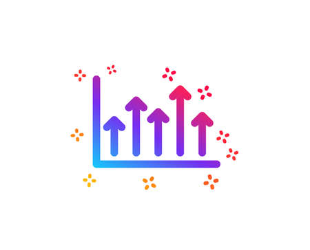 Growth chart icon. Financial graph sign. Upper Arrows symbol. Business investment. Dynamic shapes. Gradient design growth chart icon. Classic style. Vector