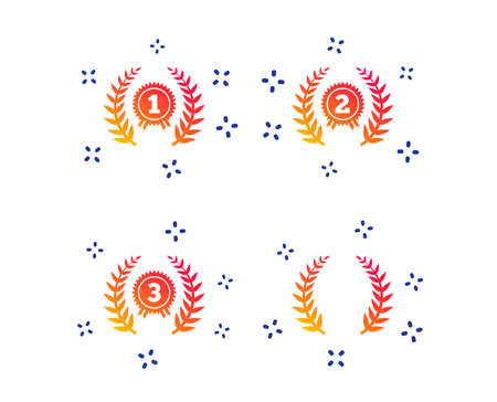 Laurel wreath award icons. Prize for winner signs. First, second and third place medals symbols. Random dynamic shapes. Gradient laurel wreath icon. Vector