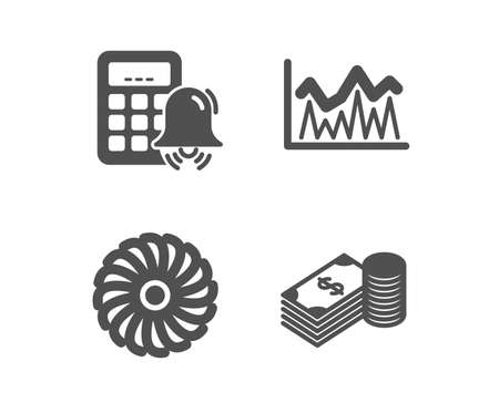 Set of Investment, Calculator alarm and Fan engine icons. Savings sign. Economic statistics, Accounting, Ventilator. Finance currency.  Classic design investment icon. Flat design. Vector Illustration