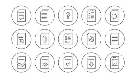 Document line icons. Report, Checklist and Download file. Read message linear icon set. Line buttons with icon. Editable stroke. Vector  イラスト・ベクター素材