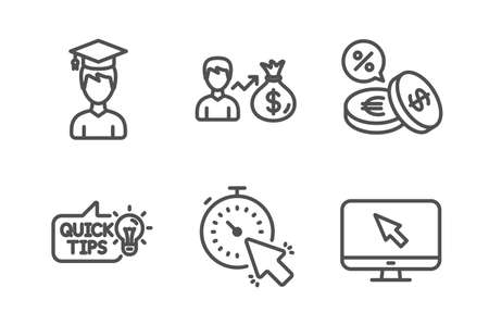 Education idea, Student and Currency exchange icons simple set. Timer, Sallary and Internet signs. Quick tips, Graduation cap. Business set. Line education idea icon. Editable stroke. Vector Illustration
