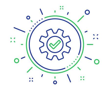 Cogwheel line icon. Approved Service sign. Transmission Rotation Mechanism symbol. Quality design elements. Technology service button. Editable stroke. Vector Standard-Bild - 125956465