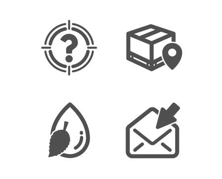 Set of Headhunter, Water drop and Parcel tracking icons. Open mail sign. Aim with question mark, Mint leaf, Package location pin. View e-mail.  Classic design headhunter icon. Flat design. Vector Vectores
