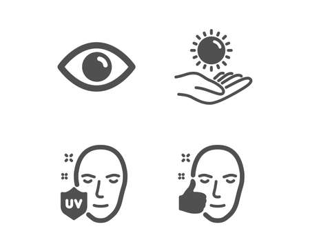 Set of Eye, Uv protection and Sun protection icons. Healthy face sign. View or vision, Ultraviolet, Ultraviolet care. Healthy cosmetics.  Classic design eye icon. Flat design. Vector Çizim