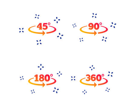 Angle 45-360 degrees icons. Geometry math signs symbols. Full complete rotation arrow. Random dynamic shapes. Gradient degree icon. Vector