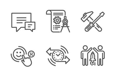 Divider document, Customer satisfaction and Hammer tool icons simple set. Timer, Comment and Partnership signs. Report file, Happy smile. Technology set. Line divider document icon. Editable stroke Vector Illustration