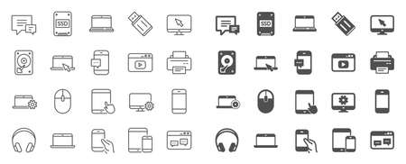Mobile device line icons. Laptop, Tablet PC and Smartphone icons. HDD, SSD and Flash drive. Headphones, Printer and tablet device. Mouse, ssd disk, mobile laptop. Memory hdd drive. Quality sign set 矢量图片