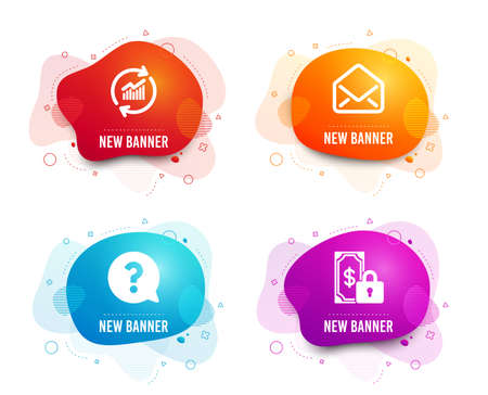 Liquid badges. Set of Mail, Update data and Question mark icons. Private payment sign. E-mail, Sales statistics, Help support. Secure finance.  Gradient mail icon. Flyer fluid design. Abstract shapes Illustration