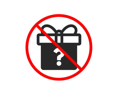 No or Stop. Gift box with Question mark icon. Present or Sale sign. Birthday Shopping symbol. Package in Gift Wrap. Prohibited ban stop symbol. No secret gift icon. Vector Stock Illustratie