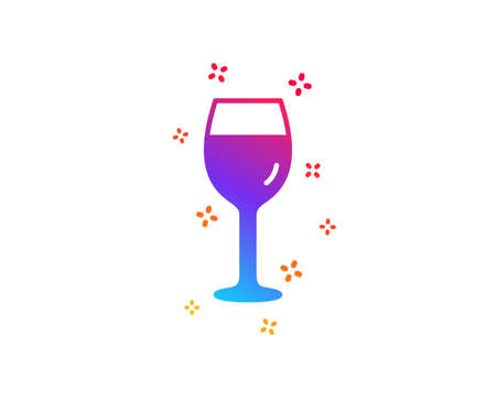 Wine glass icon. Bordeaux glass sign. Dynamic shapes. Gradient design wine glass icon. Classic style. Vector